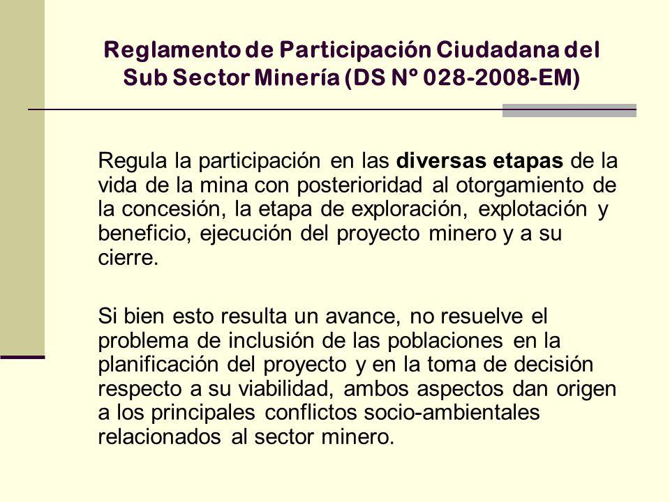 Reglamento de Participación Ciudadana del Sub Sector Minería (DS Nº 028-2008-EM)