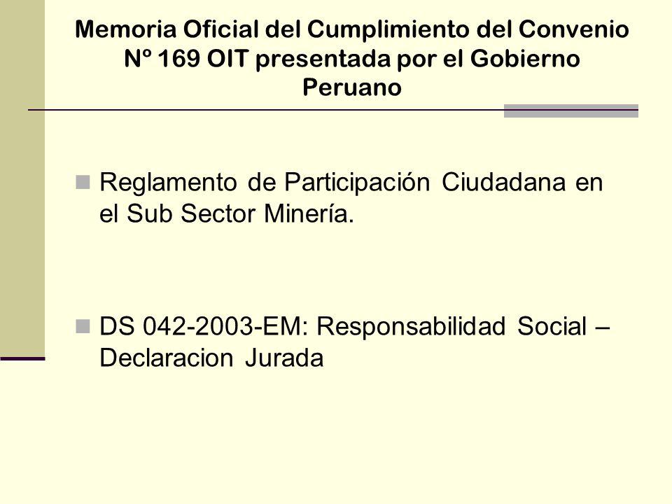 Reglamento de Participación Ciudadana en el Sub Sector Minería.