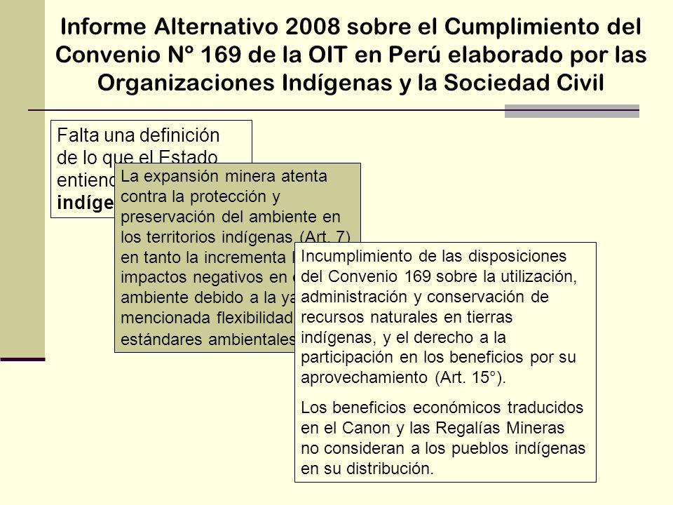 Informe Alternativo 2008 sobre el Cumplimiento del Convenio Nº 169 de la OIT en Perú elaborado por las Organizaciones Indígenas y la Sociedad Civil