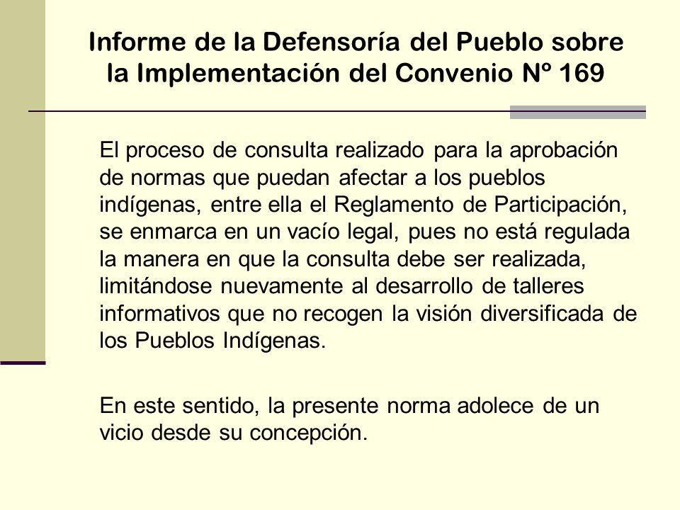 Informe de la Defensoría del Pueblo sobre la Implementación del Convenio Nº 169