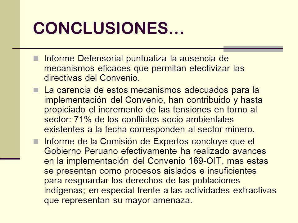 CONCLUSIONES…Informe Defensorial puntualiza la ausencia de mecanismos eficaces que permitan efectivizar las directivas del Convenio.