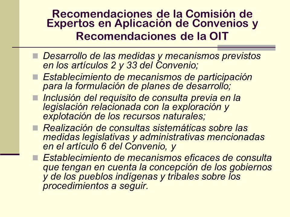 Recomendaciones de la Comisión de Expertos en Aplicación de Convenios y Recomendaciones de la OIT