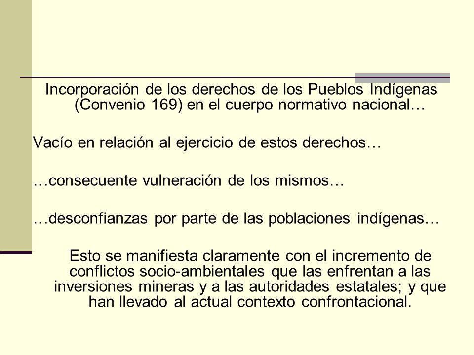 Incorporación de los derechos de los Pueblos Indígenas (Convenio 169) en el cuerpo normativo nacional…