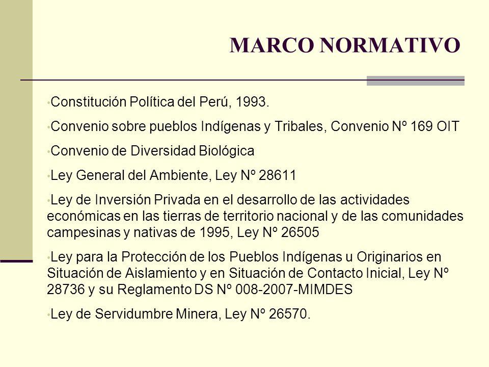 MARCO NORMATIVO Constitución Política del Perú, 1993.