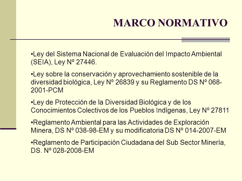 MARCO NORMATIVO Ley del Sistema Nacional de Evaluación del Impacto Ambiental (SEIA), Ley Nº 27446.