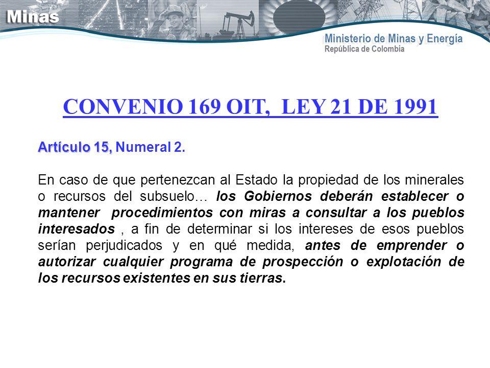 CONVENIO 169 OIT, LEY 21 DE 1991 Artículo 15, Numeral 2.