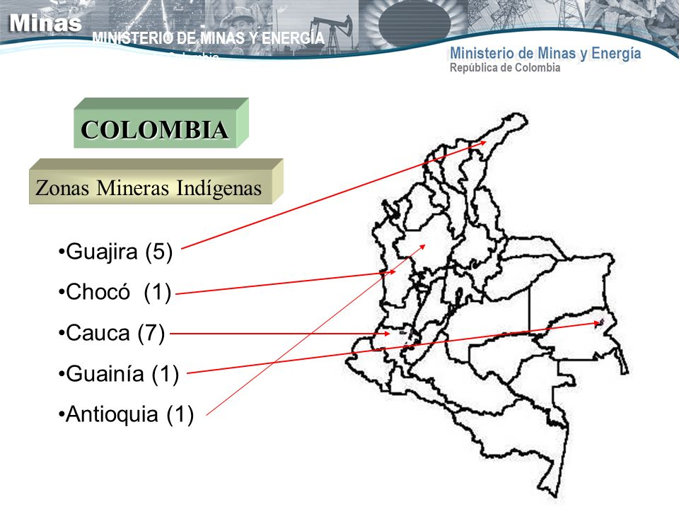 COLOMBIA Zonas Mineras Indígenas Guajira (5) Chocó (1) Cauca (7)