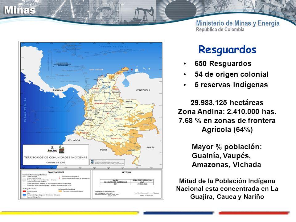 Resguardos 650 Resguardos 54 de origen colonial 5 reservas indígenas