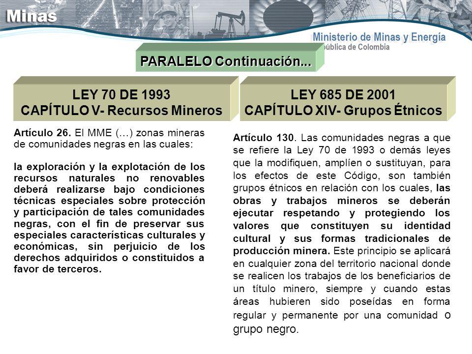 CAPÍTULO V- Recursos Mineros CAPÍTULO XIV- Grupos Étnicos