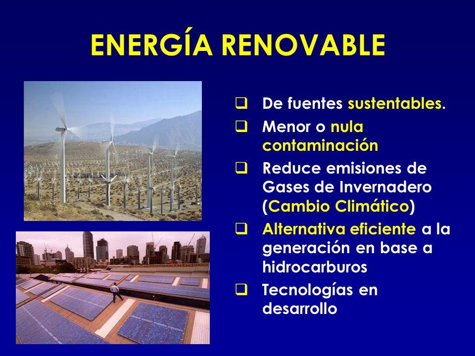 ENERGÍA RENOVABLE De fuentes sustentables. Menor o nula contaminación