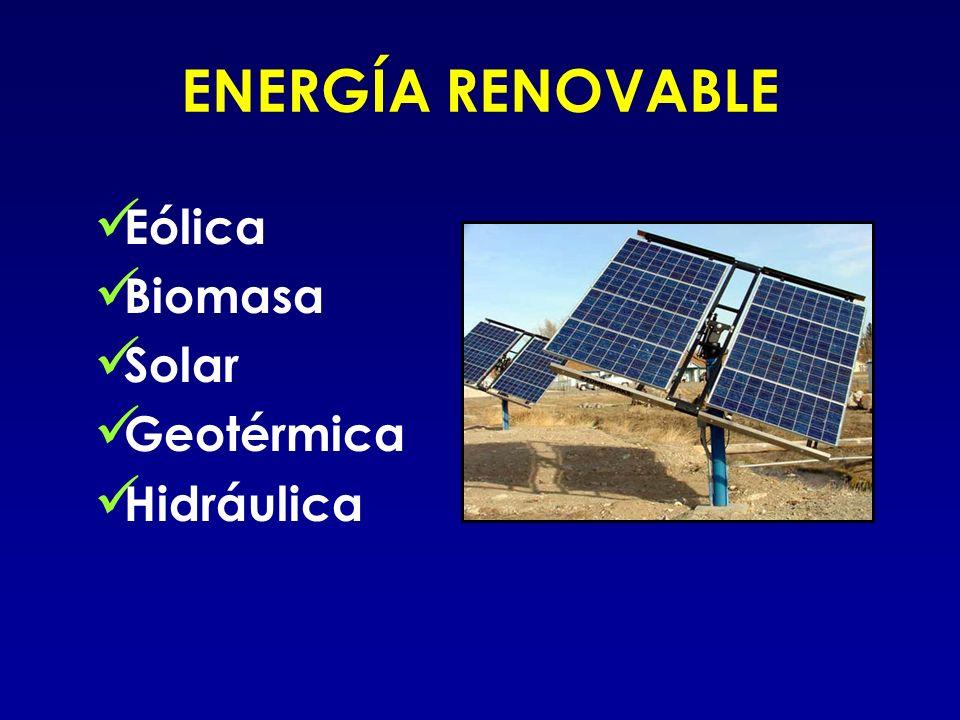 ENERGÍA RENOVABLE Eólica Biomasa Solar Geotérmica Hidráulica