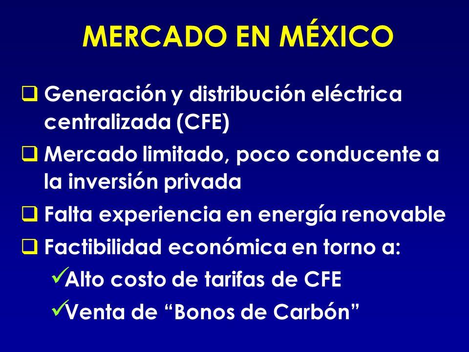 MERCADO EN MÉXICO Generación y distribución eléctrica centralizada (CFE) Mercado limitado, poco conducente a la inversión privada.
