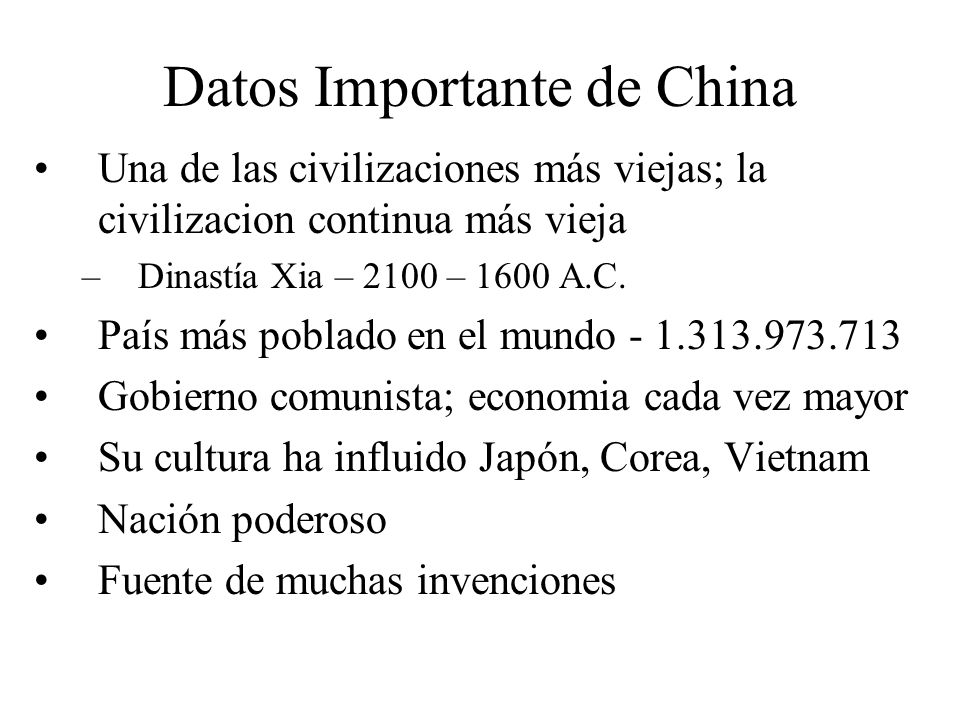 Datos Importante de China