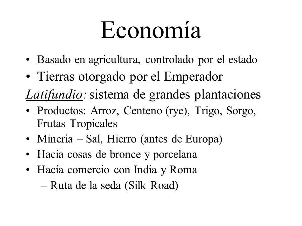 Economía Tierras otorgado por el Emperador