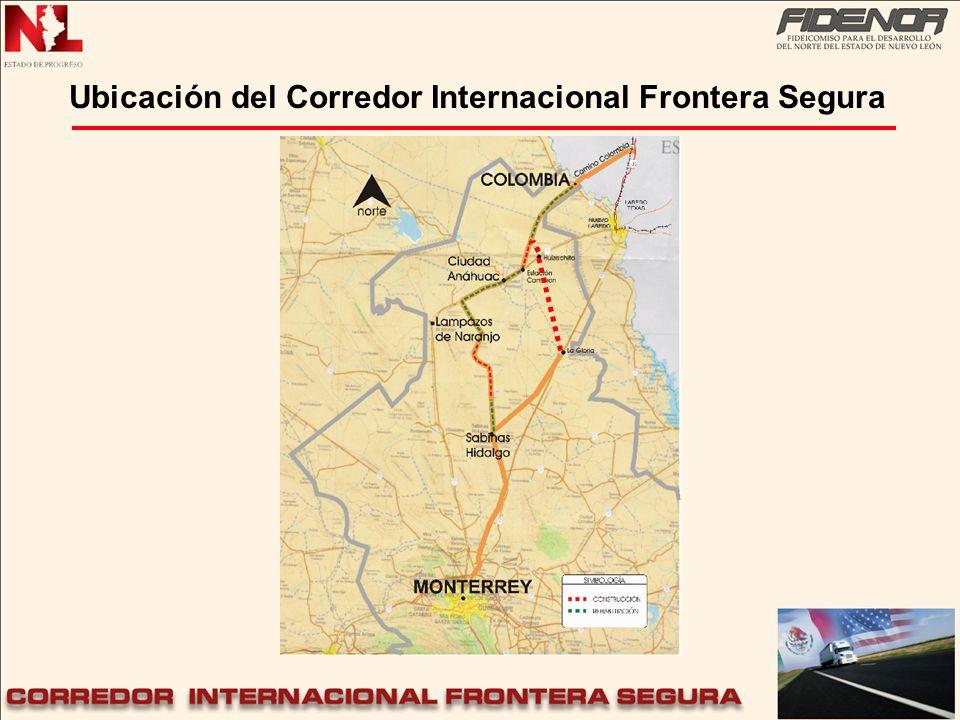 Ubicación del Corredor Internacional Frontera Segura