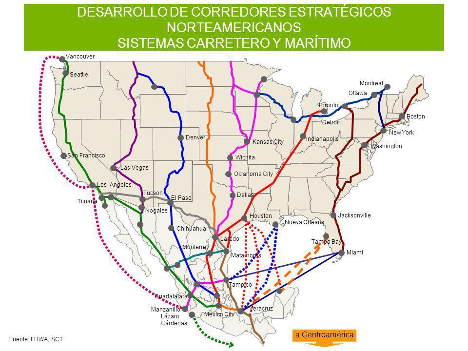 DESARROLLO DE CORREDORES ESTRATÉGICOS NORTEAMERICANOS SISTEMAS CARRETERO Y MARÍTIMO