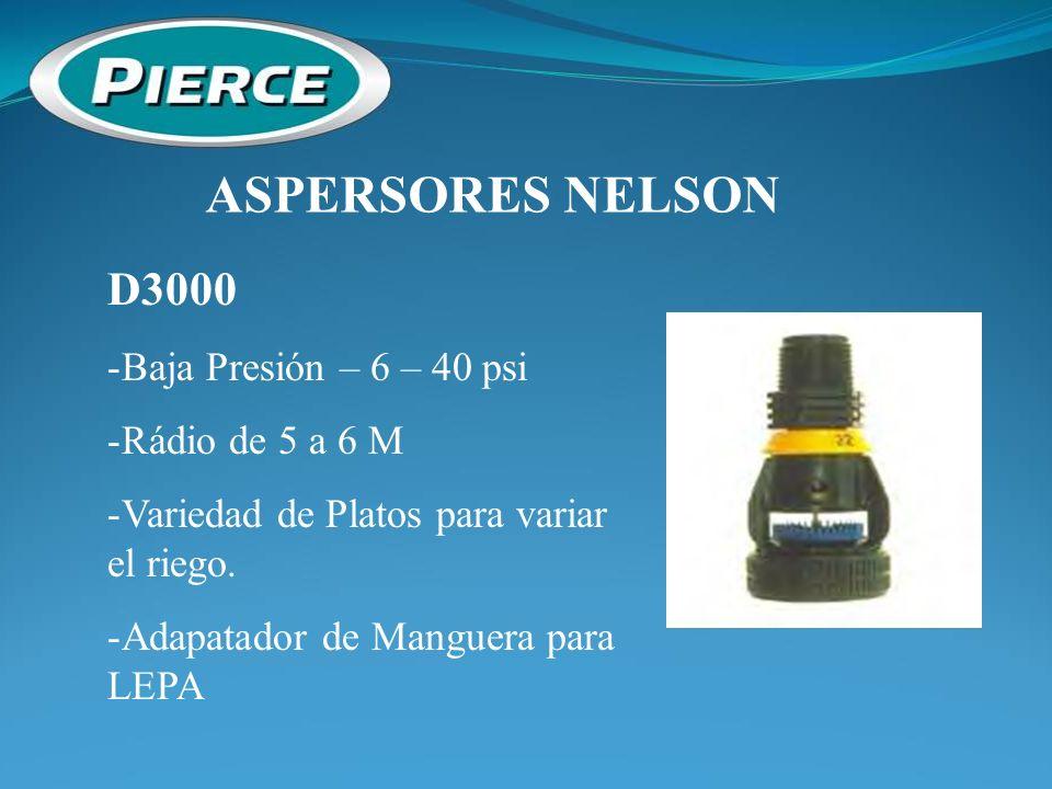ASPERSORES NELSON D3000 Baja Presión – 6 – 40 psi Rádio de 5 a 6 M
