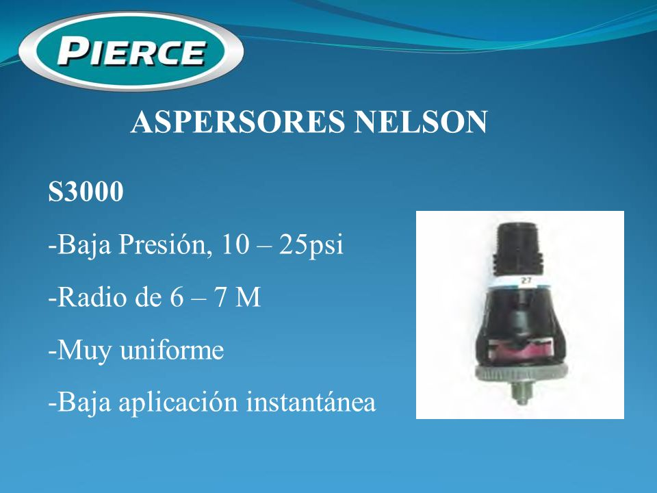 ASPERSORES NELSON S3000 -Baja Presión, 10 – 25psi -Radio de 6 – 7 M