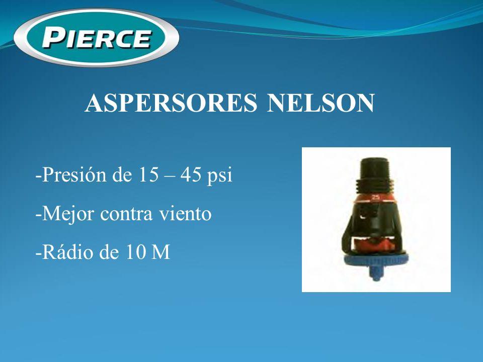 ASPERSORES NELSON -Presión de 15 – 45 psi -Mejor contra viento