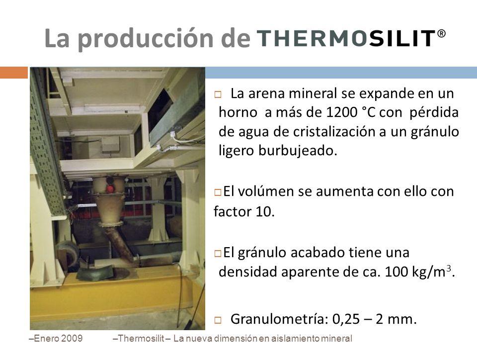 La producción deLa arena mineral se expande en un horno a más de 1200 °C con pérdida de agua de cristalización a un gránulo ligero burbujeado.