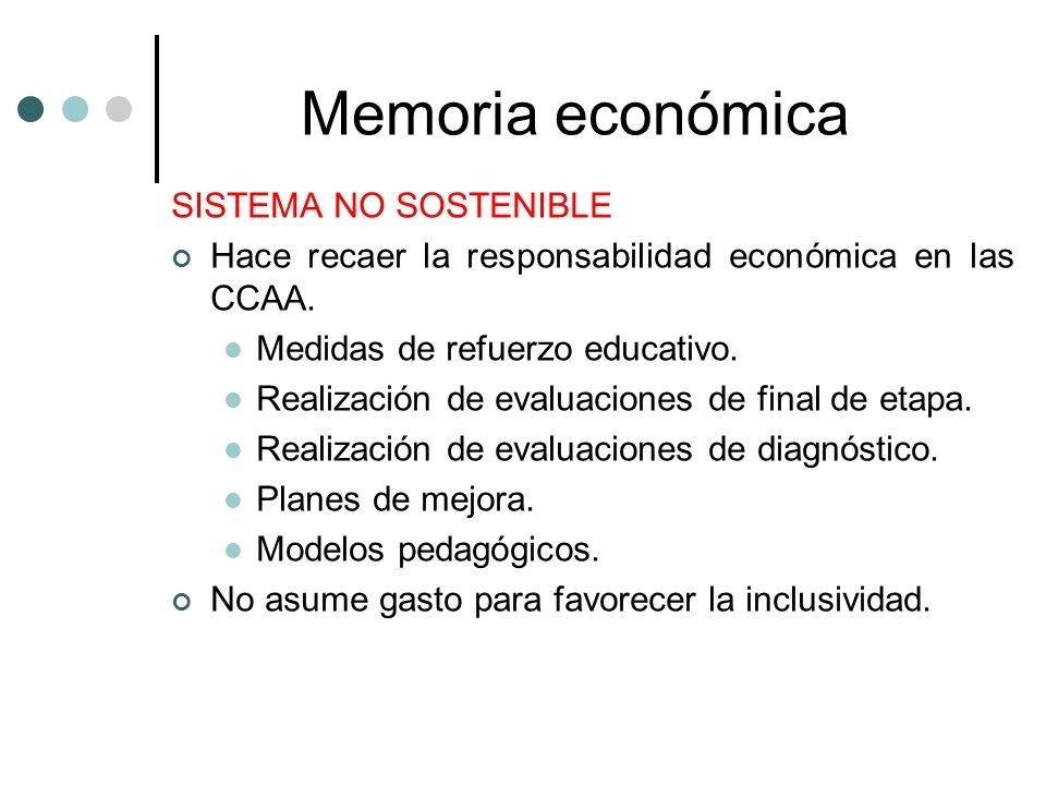 Memoria económica SISTEMA NO SOSTENIBLE