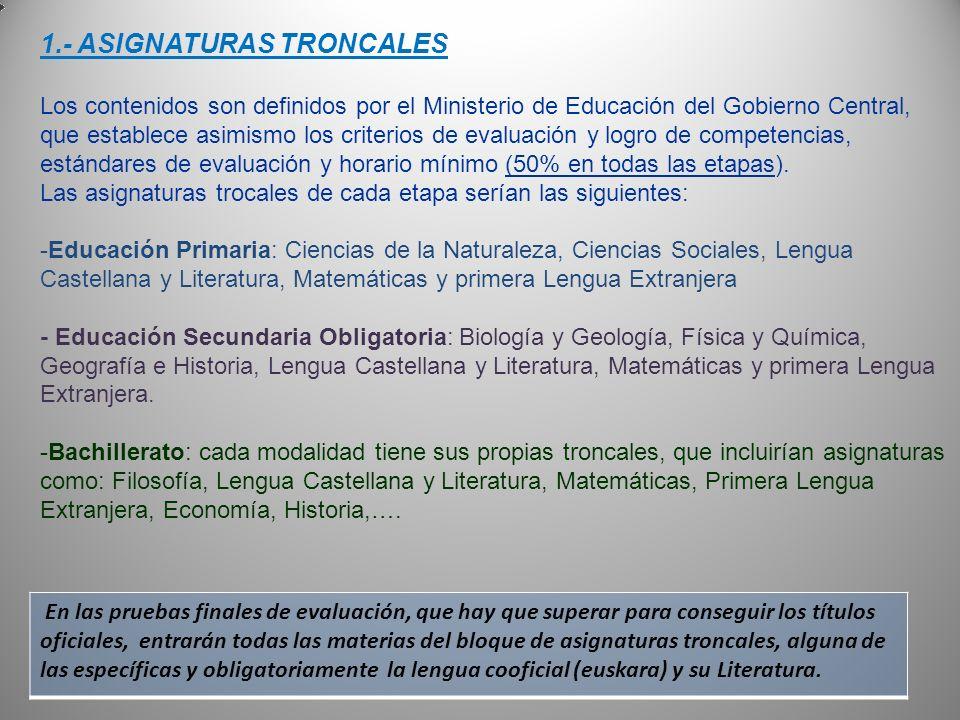 1.- ASIGNATURAS TRONCALES