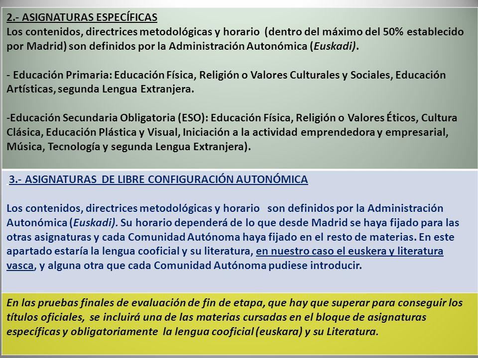 2.- ASIGNATURAS ESPECÍFICAS