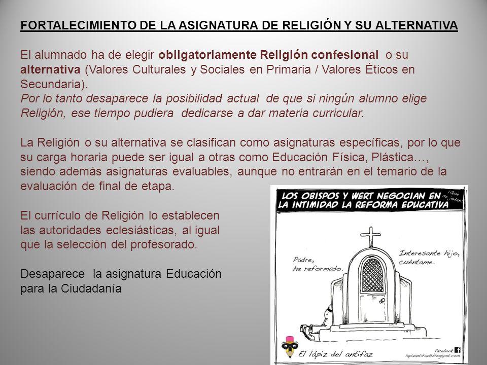 FORTALECIMIENTO DE LA ASIGNATURA DE RELIGIÓN Y SU ALTERNATIVA