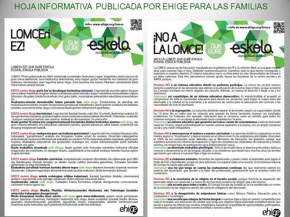 HOJA INFORMATIVA PUBLICADA POR EHIGE PARA LAS FAMILIAS