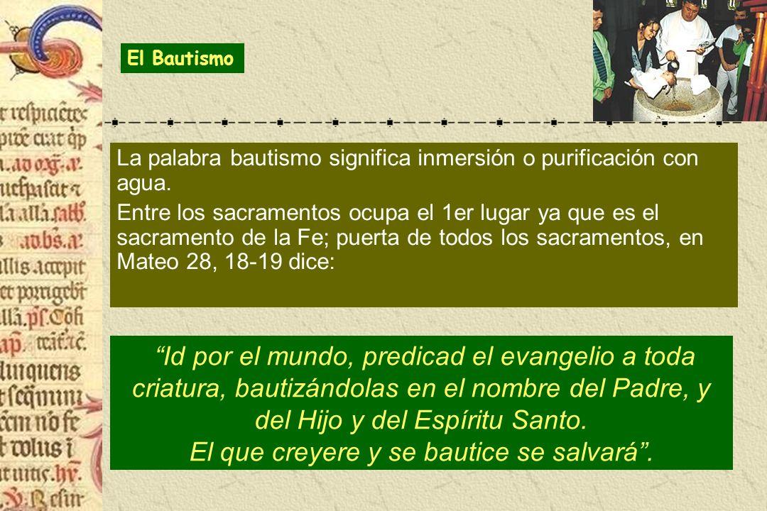 El Bautismo La palabra bautismo significa inmersión o purificación con agua.