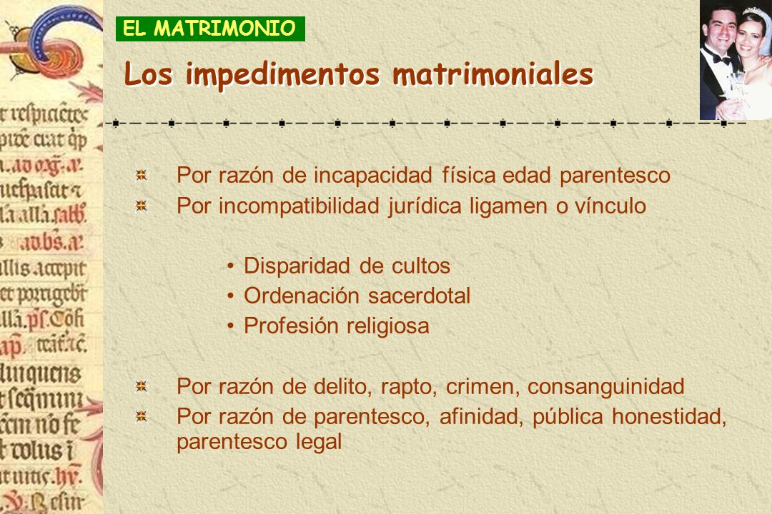 Los impedimentos matrimoniales