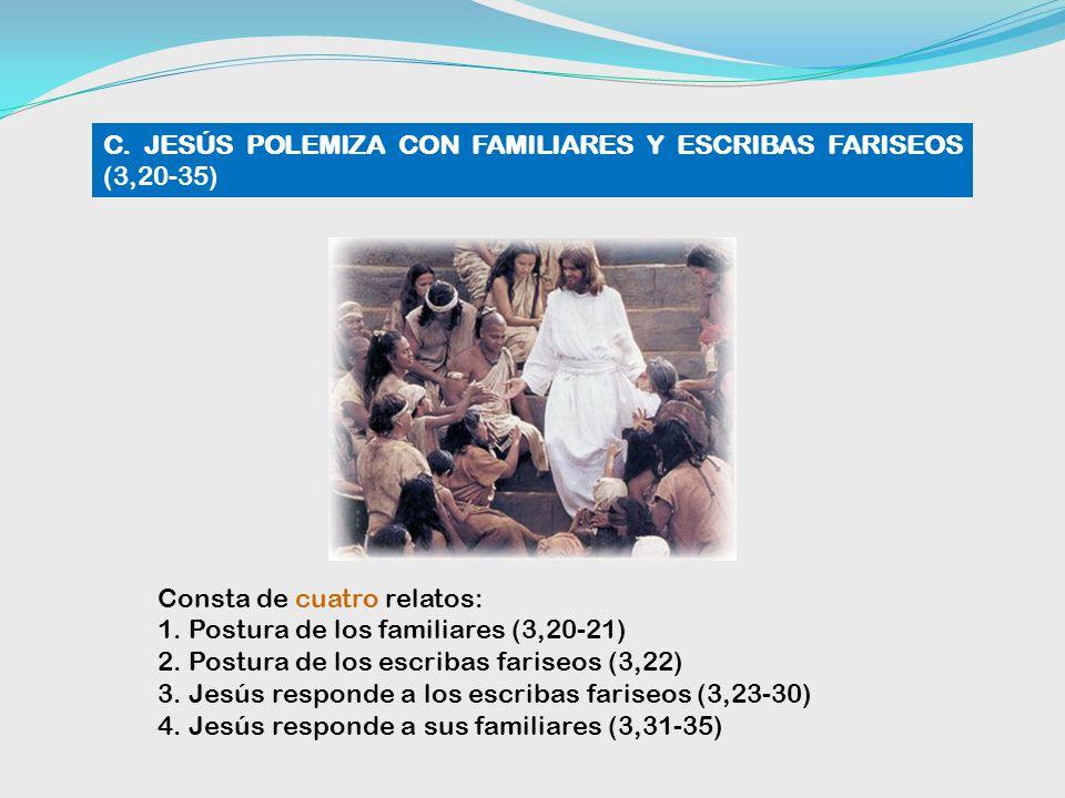 C. JESÚS POLEMIZA CON FAMILIARES Y ESCRIBAS FARISEOS (3,20-35)
