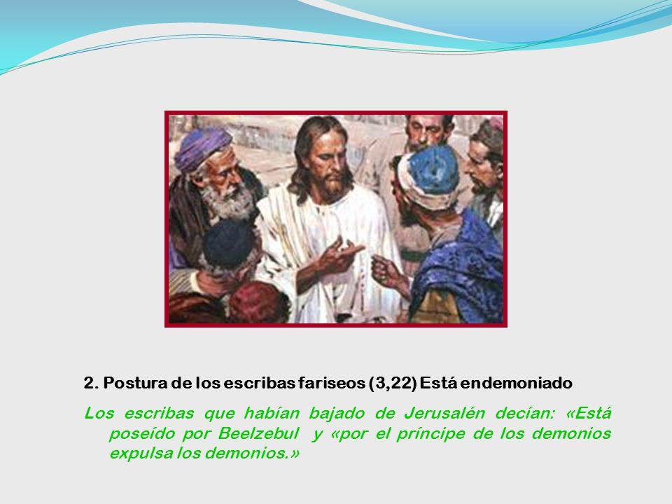 2. Postura de los escribas fariseos (3,22) Está endemoniado