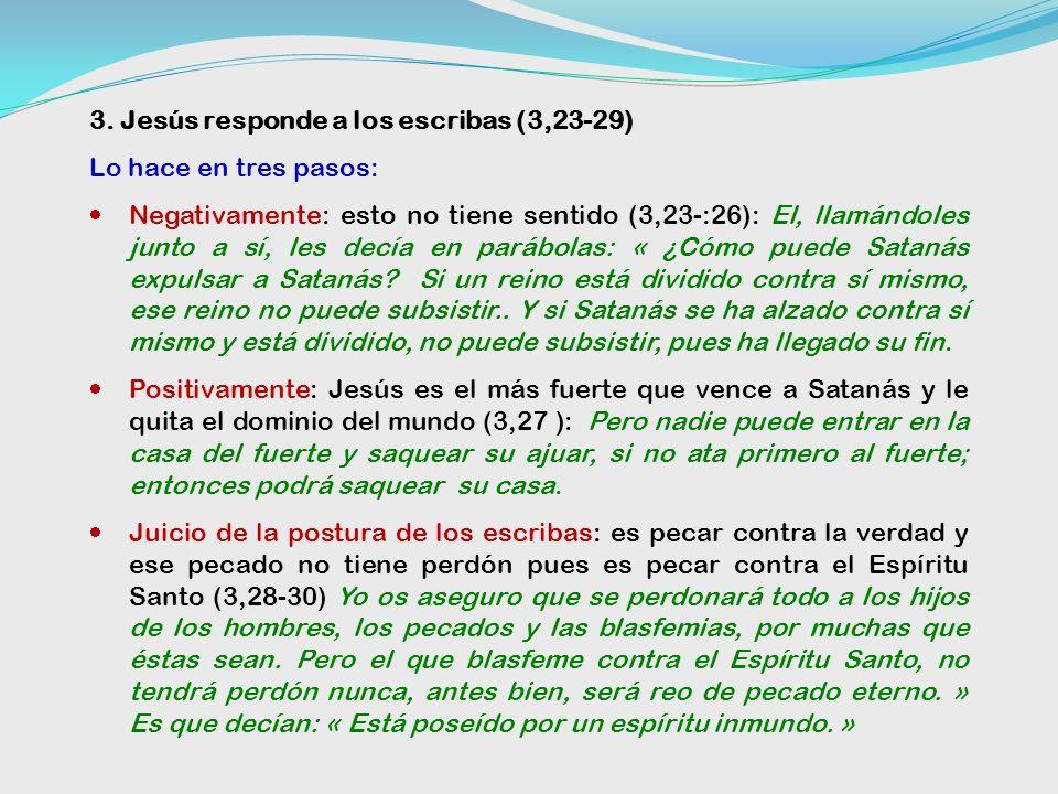 3. Jesús responde a los escribas (3,23-29)