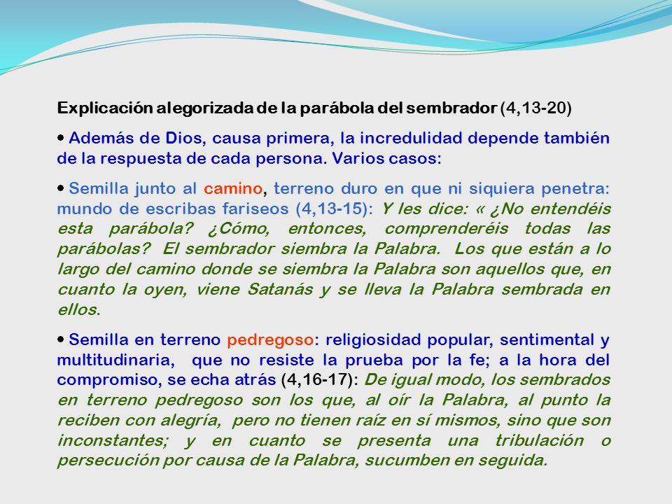 Explicación alegorizada de la parábola del sembrador (4,13-20)