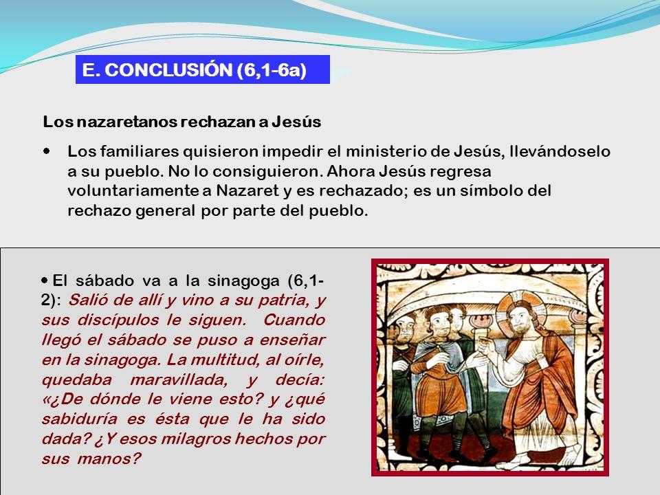 E. CONCLUSIÓN (6,1-6a) Los nazaretanos rechazan a Jesús