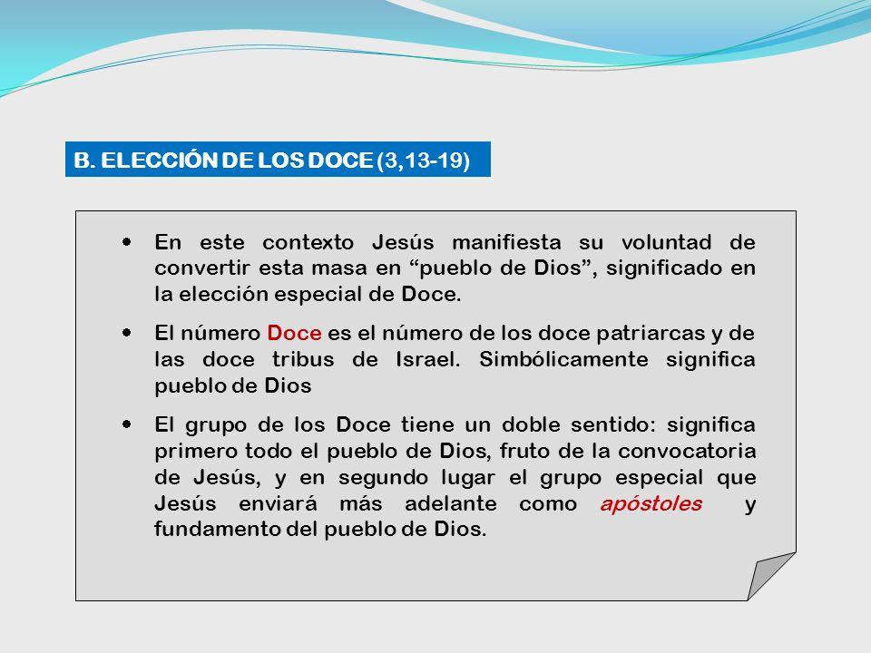 B. ELECCIÓN DE LOS DOCE (3,13-19)