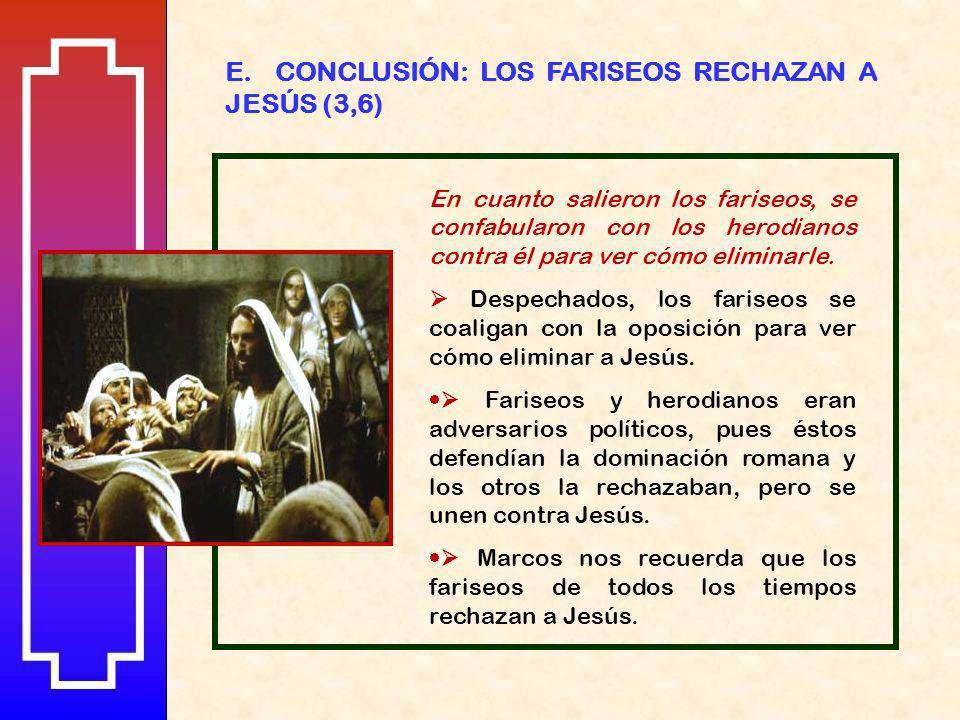 E. CONCLUSIÓN: LOS FARISEOS RECHAZAN A JESÚS (3,6)