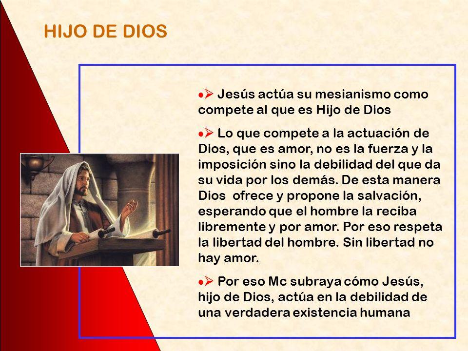 HIJO DE DIOS  Jesús actúa su mesianismo como compete al que es Hijo de Dios.
