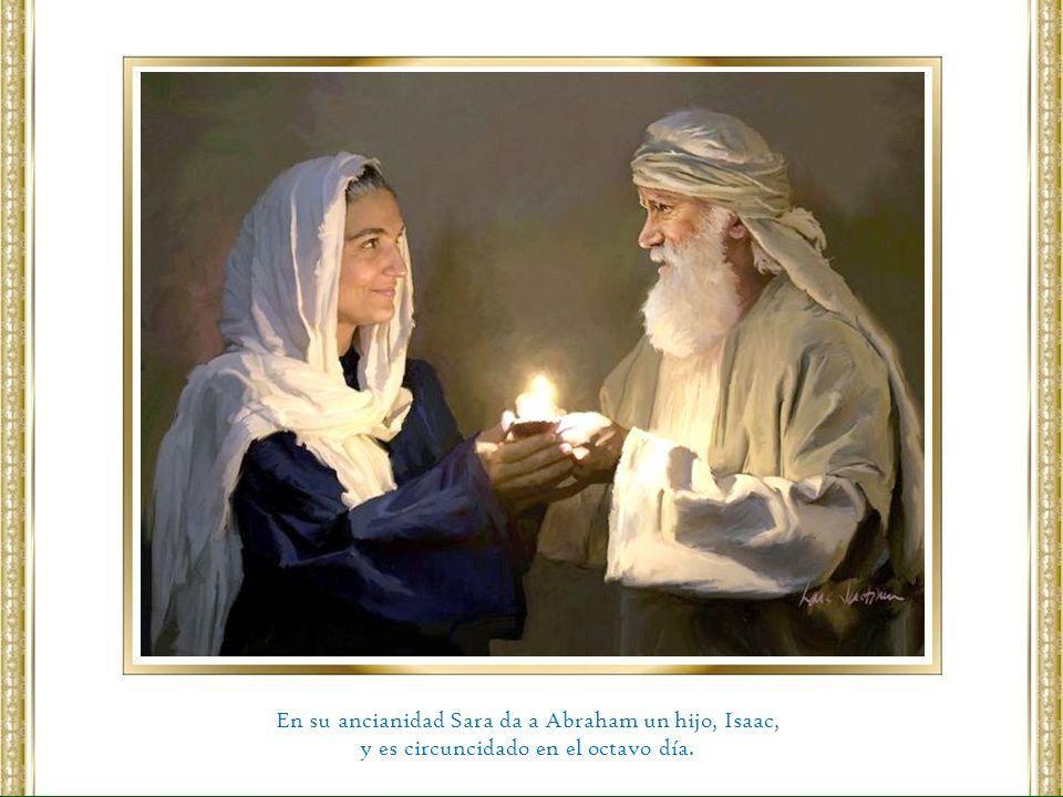 En su ancianidad Sara da a Abraham un hijo, Isaac,