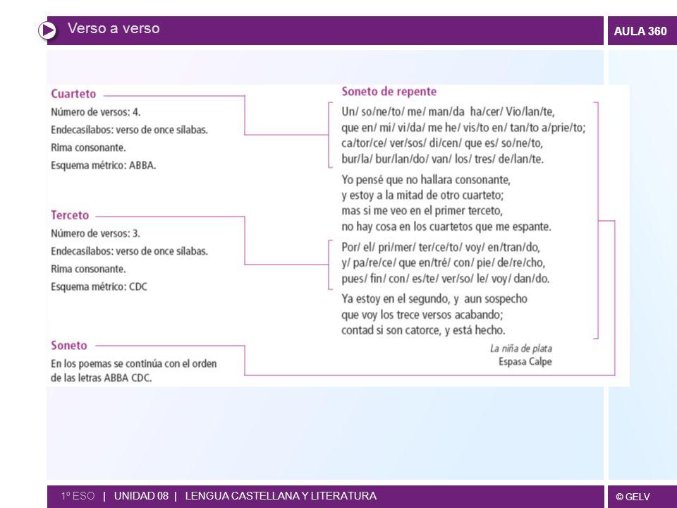 Verso a verso 1º ESO | UNIDAD 08 | LENGUA CASTELLANA Y LITERATURA