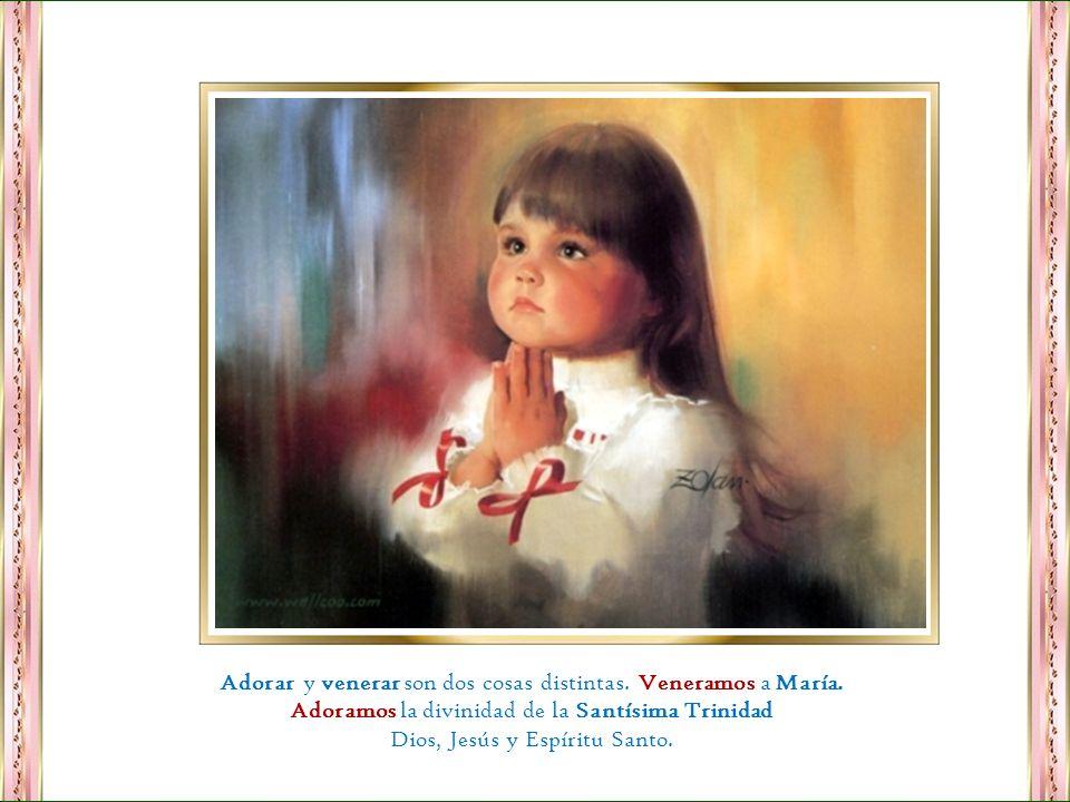 Adorar y venerar son dos cosas distintas. Veneramos a María.