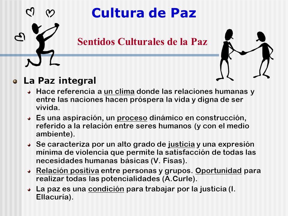 Cultura de Paz Sentidos Culturales de la Paz La Paz integral