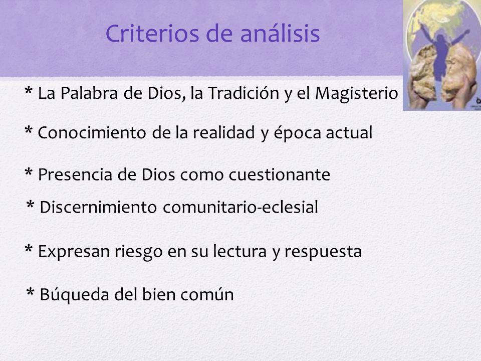 Criterios de análisis * La Palabra de Dios, la Tradición y el Magisterio. * Conocimiento de la realidad y época actual.