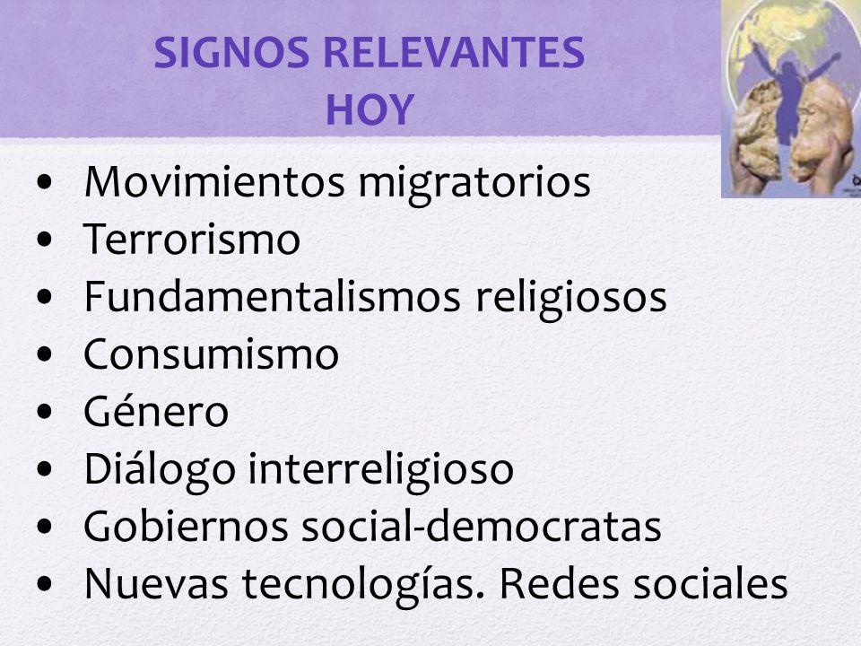 SIGNOS RELEVANTES HOY. Movimientos migratorios. Terrorismo. Fundamentalismos religiosos. Consumismo.