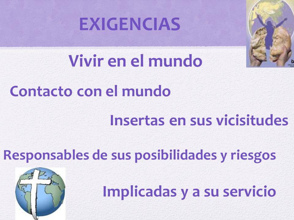 EXIGENCIAS Vivir en el mundo Contacto con el mundo
