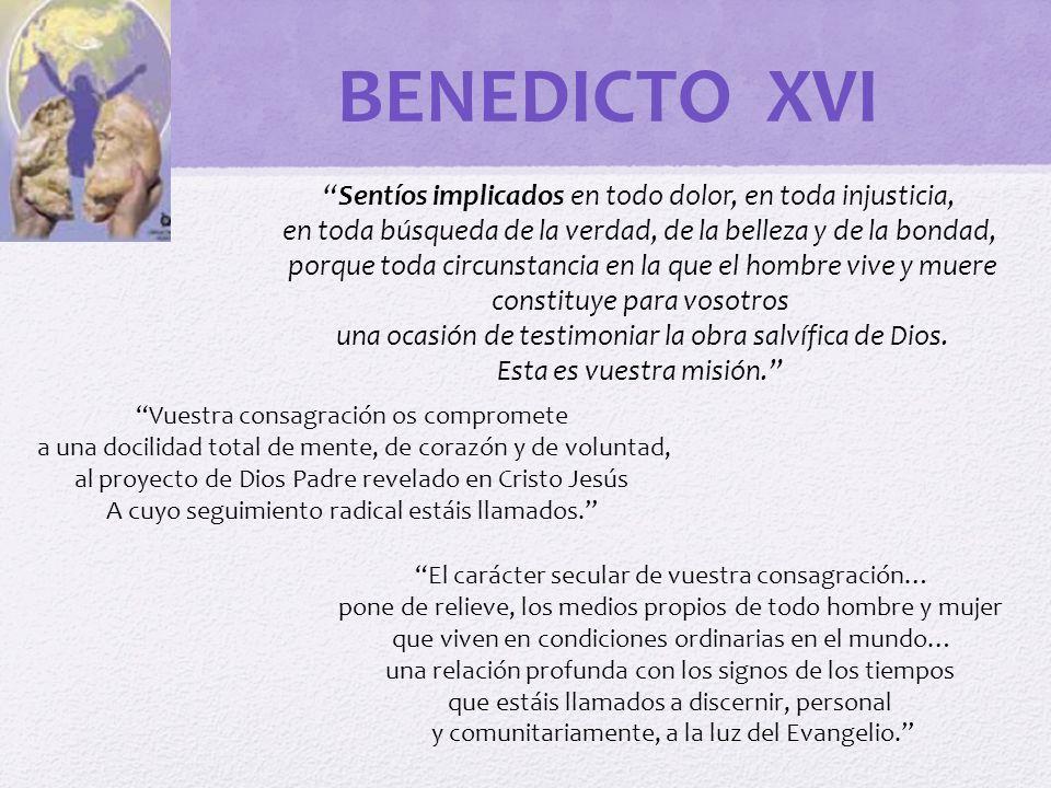 BENEDICTO XVI Sentíos implicados en todo dolor, en toda injusticia,
