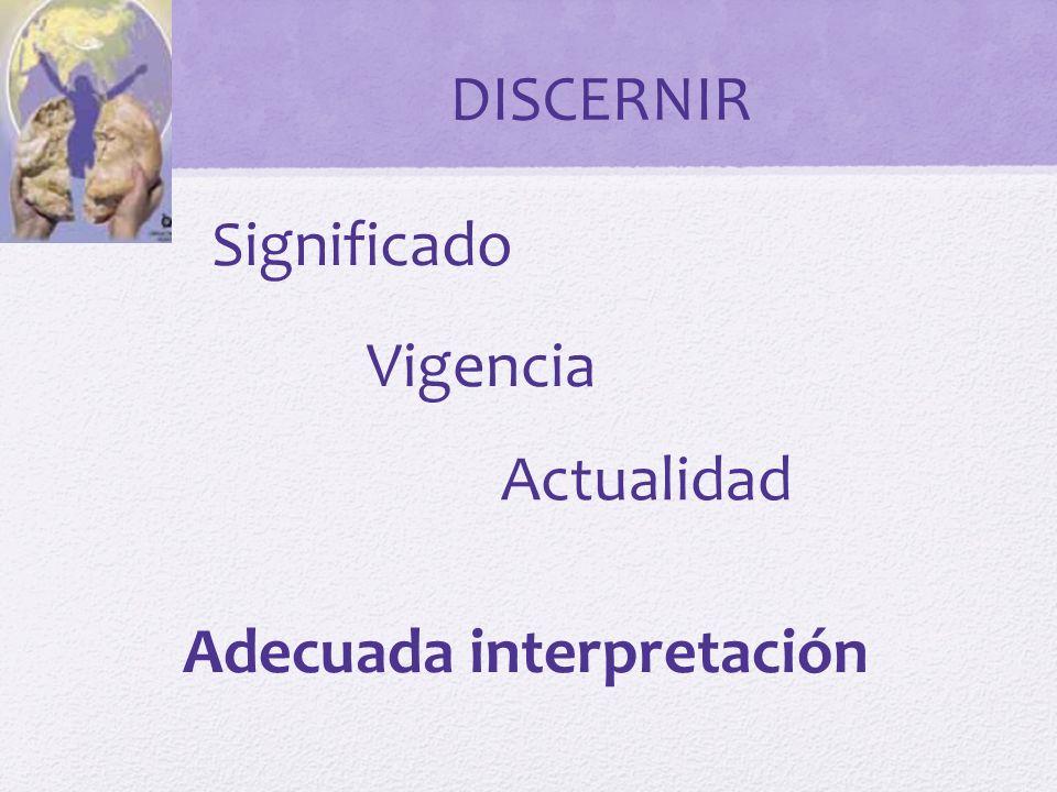 DISCERNIR Significado Vigencia Actualidad Adecuada interpretación