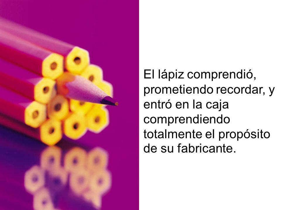 El lápiz comprendió, prometiendo recordar, y entró en la caja comprendiendo totalmente el propósito de su fabricante.