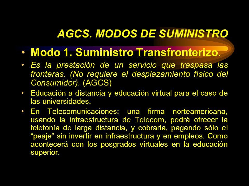 AGCS. MODOS DE SUMINISTRO